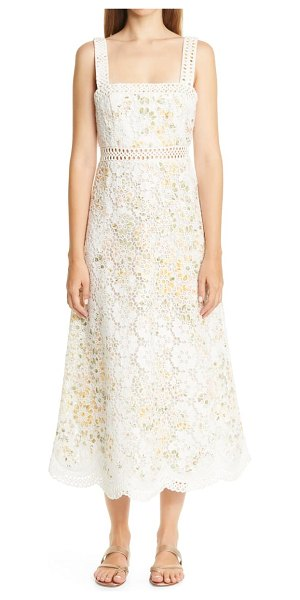 Zimmermann amelie floral broderie anglaise midi sundress in ivory floral