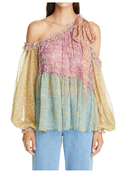 Zimmermann carnaby floral off the shoulder silk top in spliced
