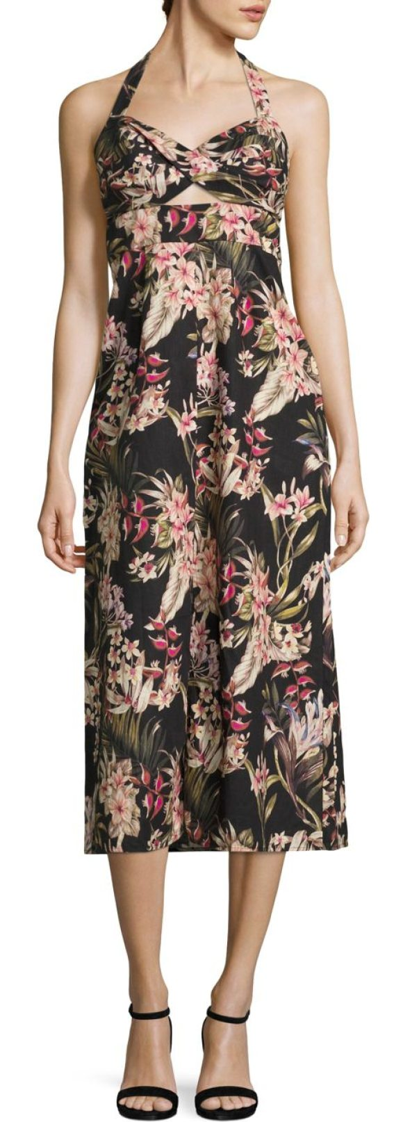 ZIMMERMANN curacao palm twisted dress - Palm floral gown highlighted with a twisted-front....