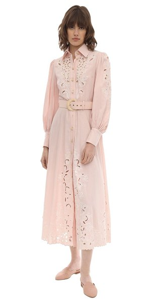 Zimmermann Embroidered linen midi dress in pink