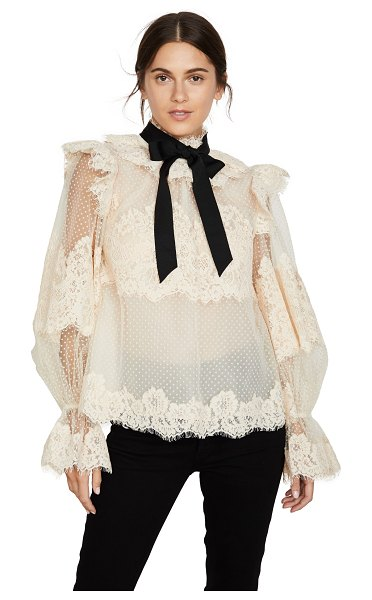 Zimmermann espionage corded lace blouse in buff