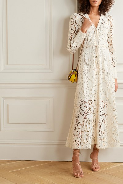 Zimmermann freja belted broderie anglaise cotton maxi dress in ivory