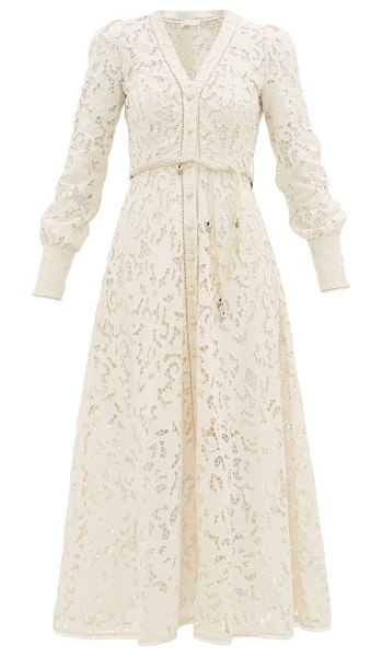 Zimmermann freja broderie-anglaise cotton shirt dress in ivory