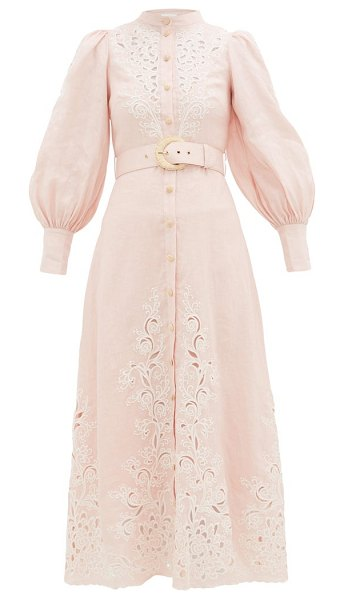 Zimmermann freja broderie anglaise-linen shirt dress in light pink