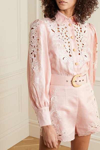 Zimmermann freja broderie anglaise-trimmed linen blouse in baby pink