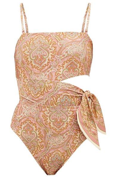 Zimmermann freja paisley-print cutout swimsuit in orange print