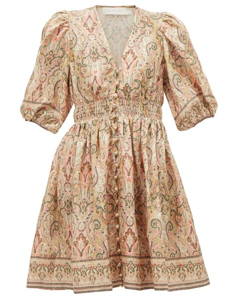Zimmermann freja paisley-print linen mini dress in pink print