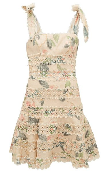 Zimmermann kirra broderie anglaise floral-print linen dress in yellow print