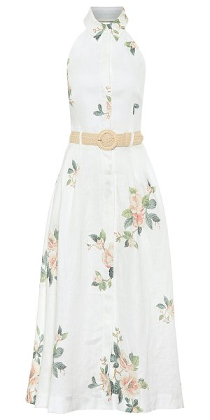 Zimmermann kirra floral linen midi dress in white