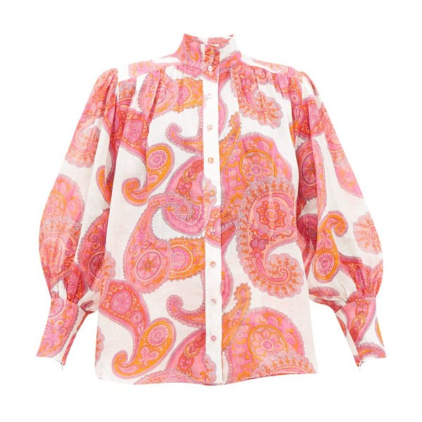 Zimmermann peggy bishop-sleeve paisley-print ramie blouse in pink print