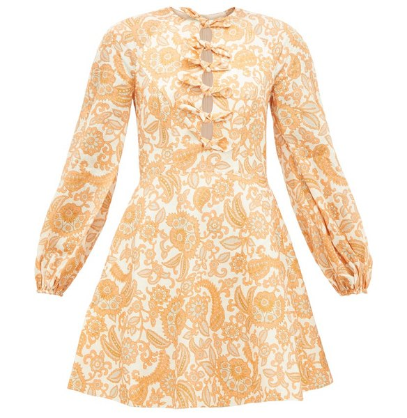 Zimmermann peggy bow-front floral-print linen dress in orange print