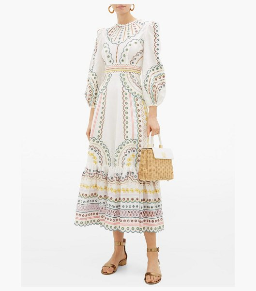 Zimmermann peggy embroidered linen-blend midi dress in cream print