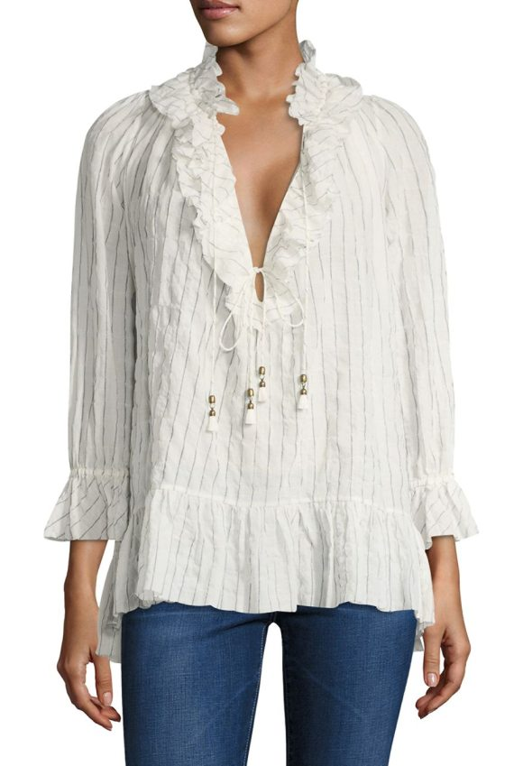 Zimmermann corsair pinstripe blouse in stripe - From the Corsair Collection. Cotton-blend blouse updated...