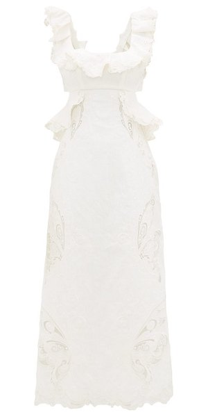 Zimmermann super eight ruffled embroidered midi dress in ivory