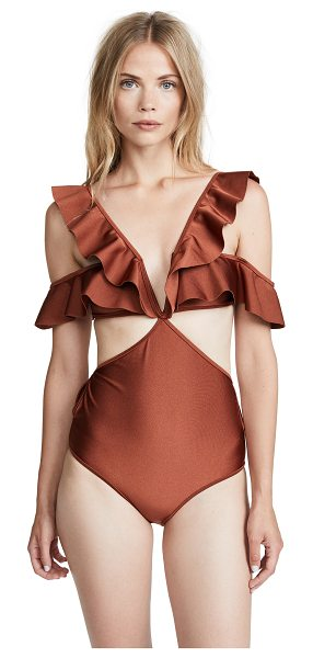 Zimmermann tali flutter one piece in bronze - Flutter detail at straps Full-coverage style...