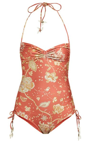 Zimmermann veneto paisley-print ruched swimsuit in red
