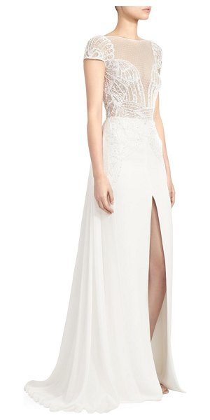 Zuhair Murad dragon lace long-slit a-line gown in bright white