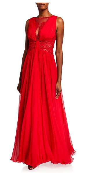 Zuhair Murad Kenpu Lace-Trim Pleated-Chiffon Gown in red