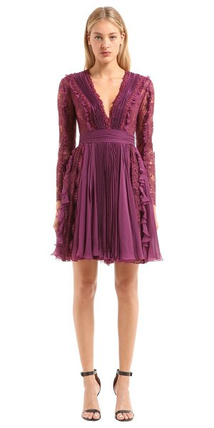Zuhair Murad Plisse chiffon & chantilly lace dress in purple - Plunging V neckline. Long sleeves. Concealed back zip...