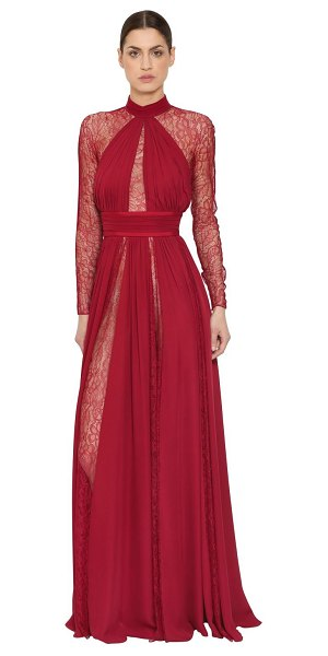 Zuhair Murad Silk georgette & lace dress in red - High collar with back bow. Long sleeves. Concealed back...