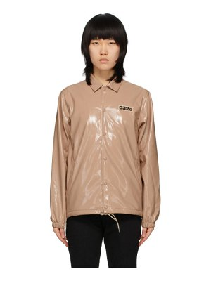 032c pink patent embroidered patch jacket