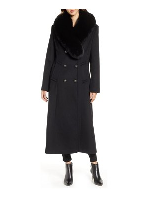 1 Madison double breasted military wool coat with genuine fox fur shawl