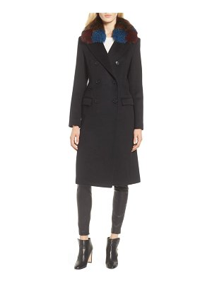 1 Madison double breasted wool coat with genuine fox fur collar