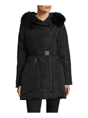 1 Madison Fox Fur-Trimmed Belted Down Coat