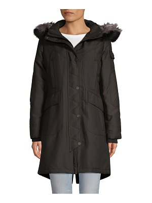 1 Madison Fox Fur-Trimmed Hooded Coat