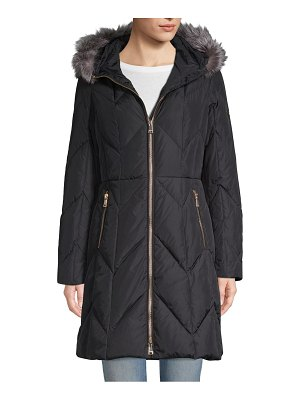 1 Madison Fox Fur-Trimmed Quilted Jacket