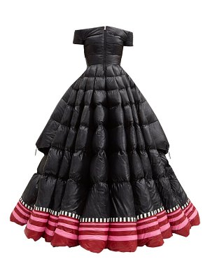 1 Moncler Pierpaolo Piccioli off-the-shoulder lacquered down-filled gown