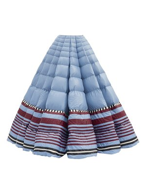 1 Moncler Pierpaolo Piccioli striped-hem pleated down-filled maxi skirt