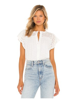1. STATE button front ruffle sleeve top