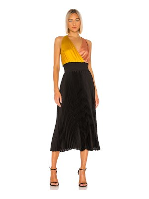 1. STATE colorblock pleated dress