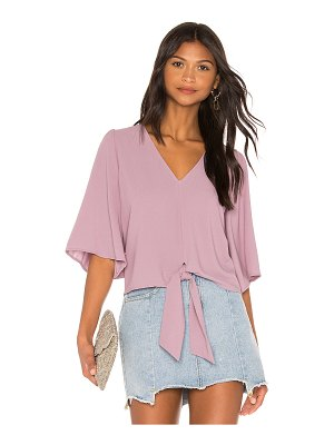 1. STATE Flounce Sleeve Tie Front V Neck Blouse