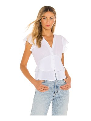 1. STATE flutter sleeve button front blouse