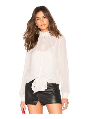1. STATE Long Sleeve Smocked Neck Sheer Check Blouse