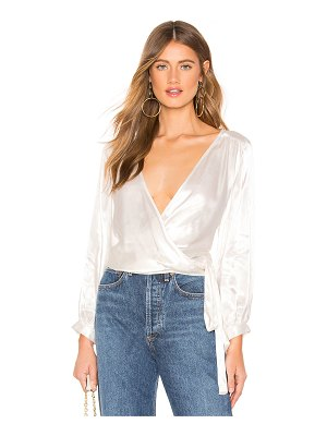 1. STATE Long Sleeve Wrap Front Waisted Blouse
