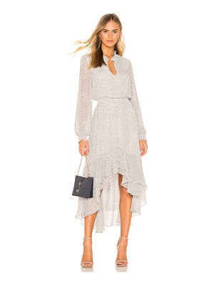 1. STATE Mock Neck High Low Dress