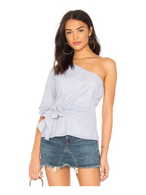 1. STATE One Shoulder Wrap Blouse