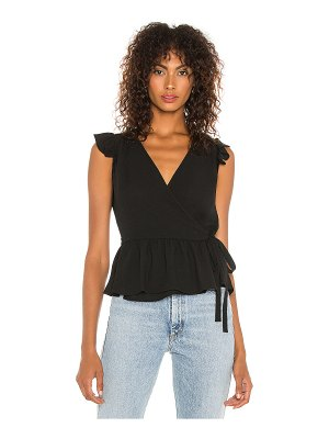 1. STATE ruffle sleeve wrap front blouse