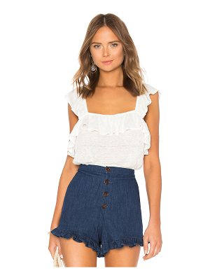 1. STATE Ruffled Edge Square Neck Ruffle Top