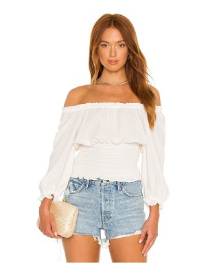 1. STATE scoop neck ruched blouse