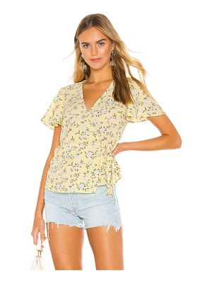 1. STATE Short Sleeve Wrap Front Blossom Cluster Blouse