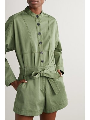 10 Crosby by Derek Lam calla belted cotton-blend twill playsuit
