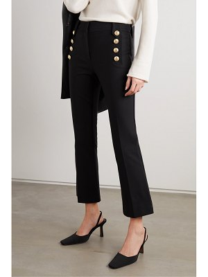 10 Crosby by Derek Lam robertson cropped button-embellished cotton-blend flared pants