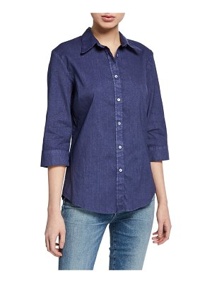120 Lino 3/4-Sleeve Button-Down Stretch Linen/Cotton Shirt