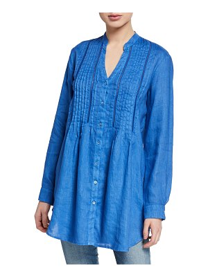 120 Lino Band Collar Button-Front Long-Sleeve Pintuck Linen Shirt