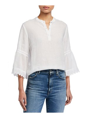 120 Lino Button-Placket 3/4 Pleated Ruffle Sleeve Blouse