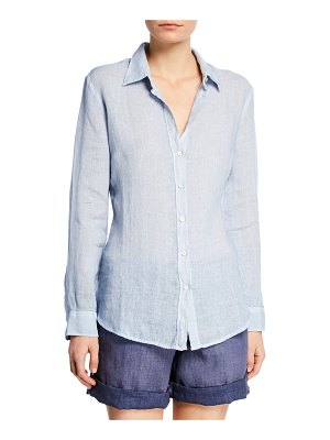 120 Lino Collared Button-Front Linen Shirt
